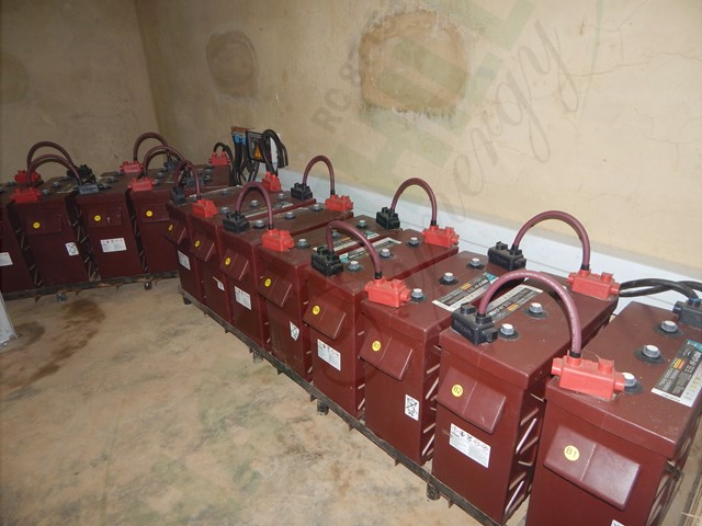 A section of the power house accommodating the batteries, charge controllers, inverters and other components