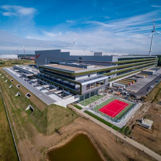 A picture of Nike's New Facility that is fully powered by renewable energy