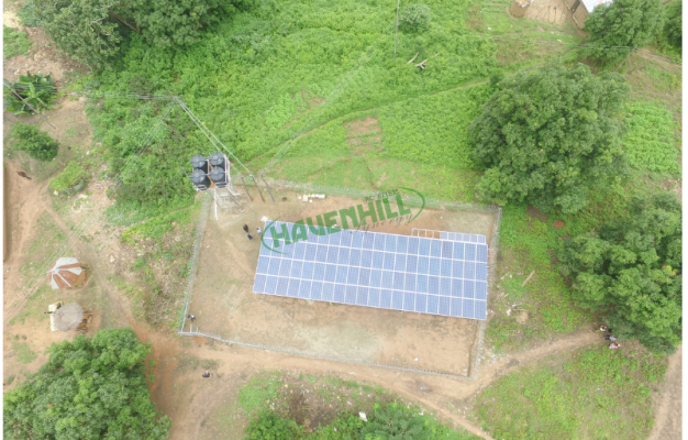 A picture showing a solar mini-grids in Abuja Nigeria. It is a 20kW mini-grid